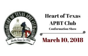 Heart of Texas APBT Club Dog Show @ Williamson County Expo Center -- Warm Up Arena